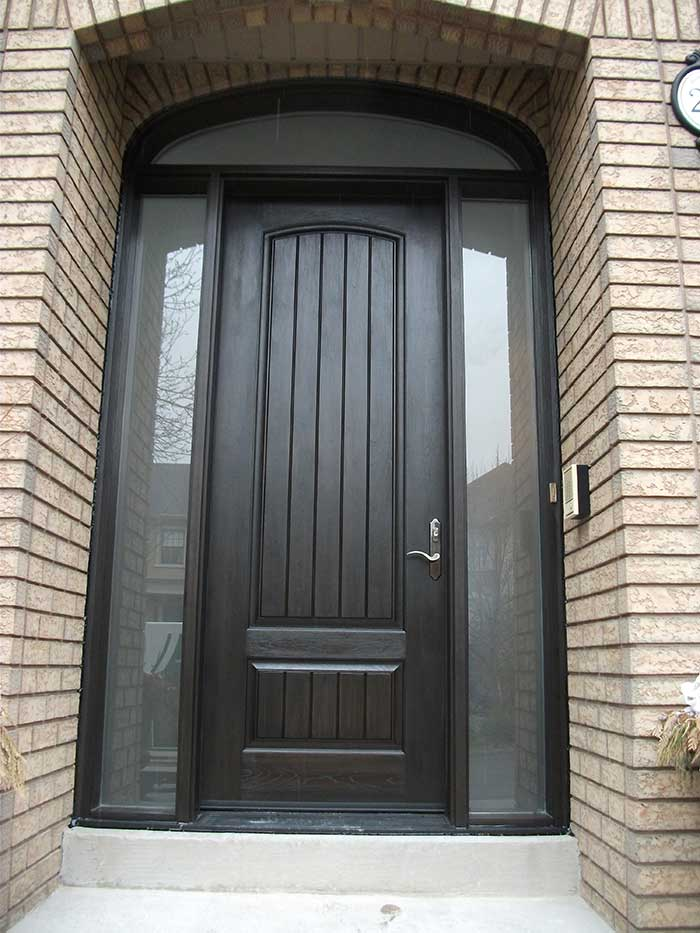 Rustic Door, Single Solid Door With 2 Side Frosted Lites and Arch Transom Installed by Windows and Doors Toronto in Oakville