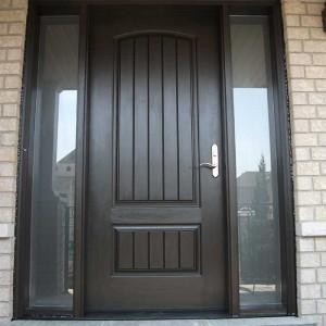 Rustic Door, Single Solid Fiberglass Door with 2 Frosted Side lights installed by Windows and Doors Toronto in Berrie