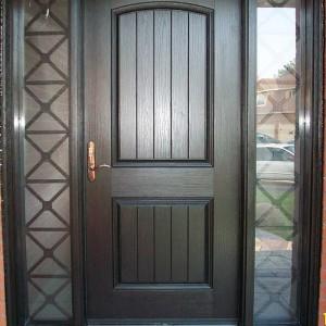 Rustic Door, Single Solid Fiberglass Door with 2 side lights and Iron Art installed by Windows and Doors Toronto