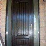 Rustic Door, Single Solid Fiberglass Front Door with 2 Side lites installed by Windows and Doors Toronto in Newmarket