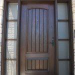 Rustic Door, Single Solid Fiberglass Woodgrain Door With and 2 side Lites Installed by Windows and Doors Toronto in Richmondhill
