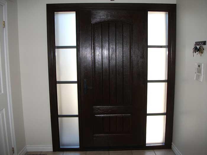 Rustic Door, Single Solid Fiberglass Woodgrain Door With and 2 side Lites Installed by Windows and Doors Toronto in Richmondhill Inside View