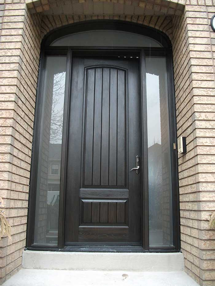 Rustic Door, Single-Solid-Front-Door-with ,-2-Frosted-Side-Lite-Panel-&-Matching-Art-Transom installed by Windows and Doors Toronto