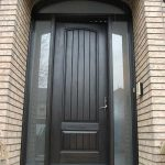 Rustic Door, Solid RusticDoor With 2 Side Frosted Lites and Arch ransom Installed by Windows and Doors Toronto in Oakville