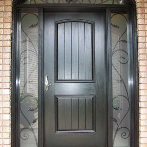 Rustic Door With Arch Transom & 2 Matching Side Lite Installed by Windows and Doors Toronto in Burlington