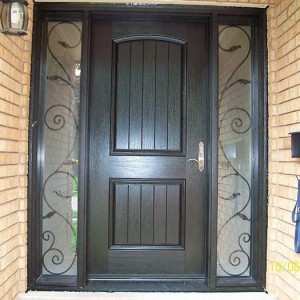 Rustic Door, Woodgrain Fiberglass front Single Door with 2 Iron Art Design installed by Windows and Doors Toronto