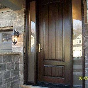 Rustic Door, Woodgrain Front Single Fiberglass with 2 Frosted Side Lites Installed by Windows and Doors Toronto in Oakville