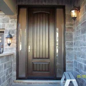 Rustic Doors 8-Foot-FiberglasSigle--Solid Door-with-2-frosted-Side-Lites-Installed by Windows and Doors Toronto-in-Newmarket-Ontario