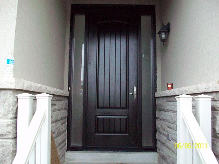 Rustic Doors 8-Foot-FiberglasSigle-Solid-Door-with-2-frosted-Side-Lites-Installed by Windows and Doors Toronto-in-Newmarket-Ontario