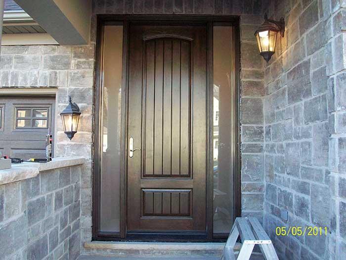 Rustic Doors, 8-Foot-FiberglasSigle--Solid Door-with-2-frosted-Side-Lites-Installed by Windows and Doors Toronto-in-Newmarket-Ontario