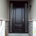 Rustic Doors, 8-Foot-FiberglasSigle-Solid-Door-with-2-frosted-Side-Lites-Installed by Windows and Doors Toronto-in-Newmarket-Ontario