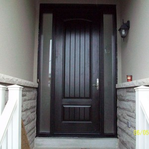Rustic Doors, 8-Foot-FiberglasSigle-Solid-Door-with-2-frosted-Side-Lites-Installed by Windows and Doors Toronto-in-Newmarket-Ontario
