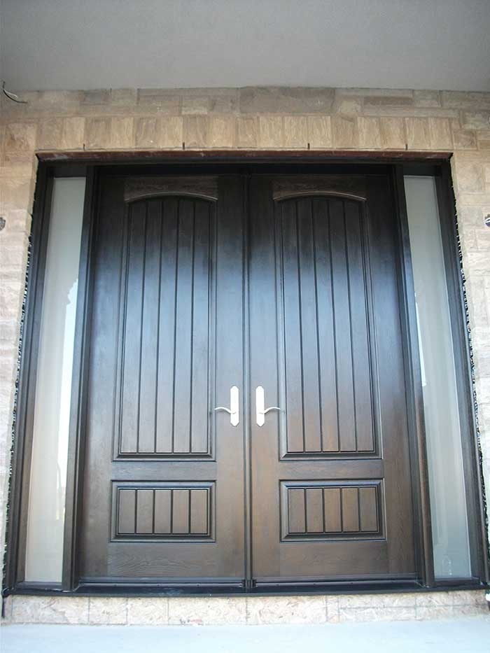 Rustic Doors, 8-Foot-Fiberglass Parliament-Front-Doors-with-2-Frosted-Slim-Side-Lites-Installed by Windows and Doors Toronto-in-Maple