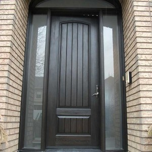Rustic Doors-8 Foot-Single-Solid-Front-Door-with ,-2-Frosted-Side-Lite-Panel-&-Matching-Art-Transom installed by Windows and Doors Toronto