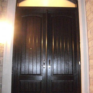 Rustic Doors After Installation, Fiberglass Rustic Double Doors with Arch Transom Installed by Windows and Doors Toronto