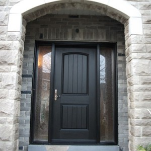 Rustic Doors After Installation - Fiberglass Rustic Single Exterior Door with 2 Side Lites Installed by Windows and Doors Toronto