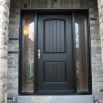 Rustic Doors After Installation - Fiberglass Rustic Single Exterior Door with 2 Side Lites installed in Woodbridge Installed by Windows and Doors Toronto