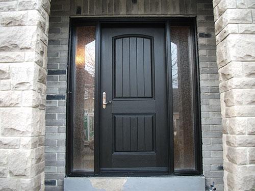 Rustic Doors After Installation - Fiberglass Rustic Single Exterior Door with 2 Side Lites installed in Woodbridge Installed by Windows and Doors Toronto