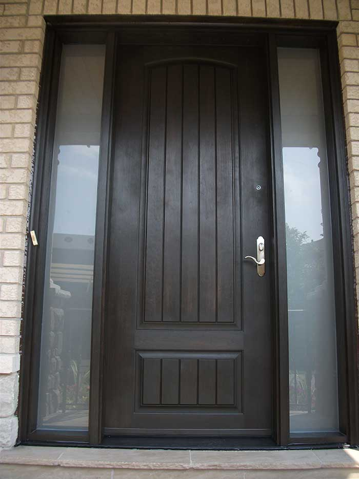 Rustic Doors, Single Solid Door With & 2 Frosted Side Lites Installed by Windows and Doors Toronto in Markham