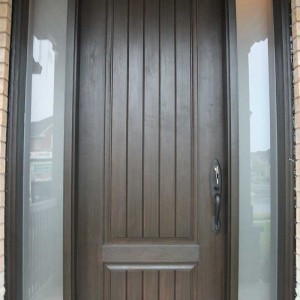Rustic Doors With 2 Frosted Side Lites Installed by Windows and Doors Toronto in Thornhill