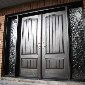 Rustic Doors, Woodgrain Double Solid Front Door with 2 Iron Art Side Lits Installed by Windows and Doors Toronto in Thornhill Ontario