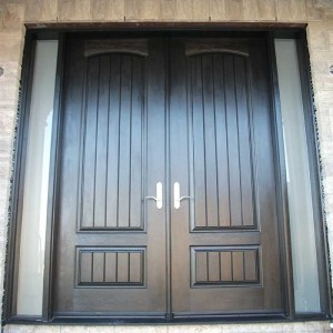 Rustic Doors, Woodgrain Solid Door With and 2 Frosted Side Lites installed by Windows and Doors Toronto in Richmondhill