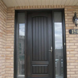 Rustic Doors, Woodgrain Solid Single Door with 2 Side Lites Installed by Windows and Doors Toronto in Newmarket