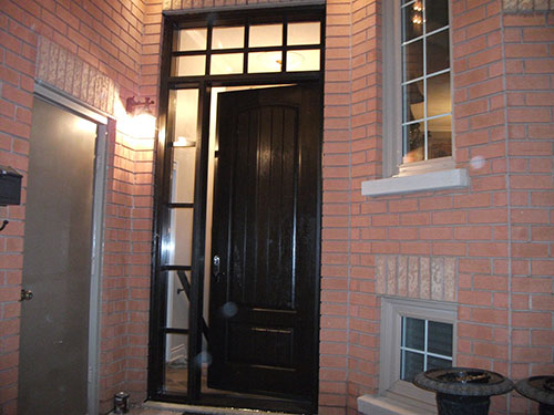 Rustic Doors with Side Lite and Transom Installed by Windows and Doors Toronto
