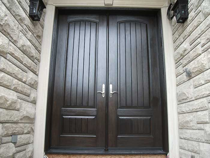 Rustic Doors,8-Foot-Fiberglass-Double-Solid-Parliament-Doors-with-Multi-Point-Locks-Installed by Windows and Doors Toronto-in-Burlington