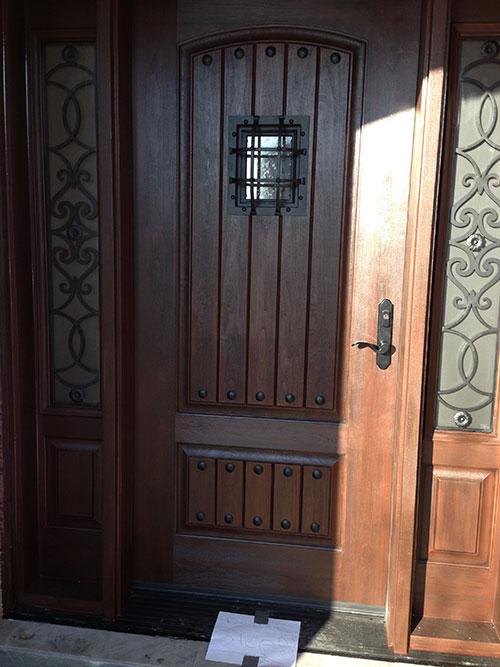 Rustic Fiberglass Door-Custom Fiberglass Doors with 2 side lite Installed in Berlington by windowsanddoorstoronto