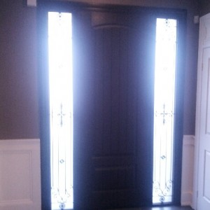 Rustic Fiberglass Door with 2 Wrought Iron Side Lites installed by windowsanddoors.ca in Richmond Hill-Inside View