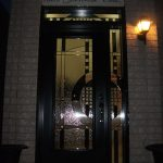 Single 8 Foot Stainedglass Door with side lite & Transom installed by Windows And Doors Toronto