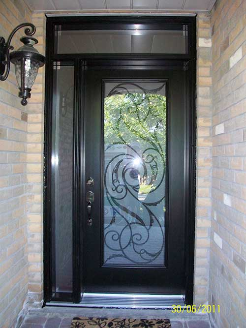 Smooth Door with Slim Side Lite and Transom installed by Windows and Doors Toronto in Scarborough