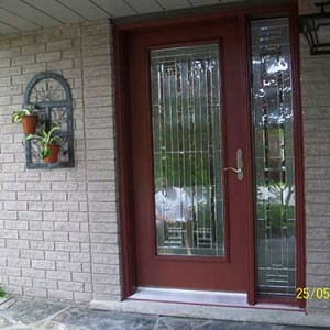 Smooth Door with side Lite, Stained Glass Design installed by Windows and Doors Toronto