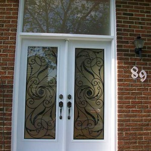 Smooth Exterior Double Doors with Multi Point Locks & Transom installed by Windows and Doors Toronto