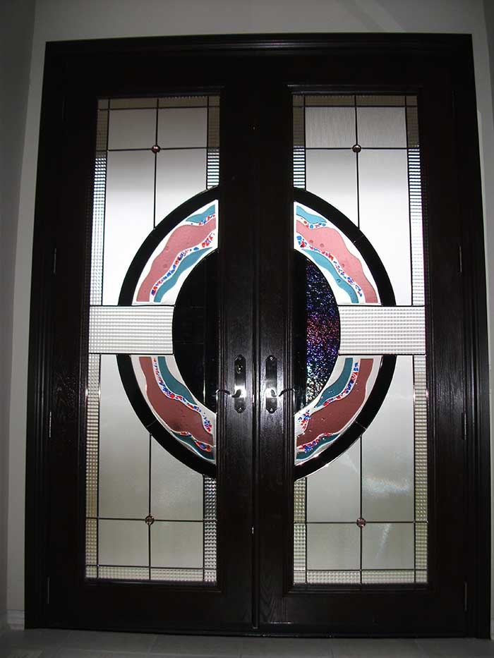Stained Glass Doors, 8-Foot-Fiberglass-Milan-Design-Door-Installed-in-Woodbridge---Inside-View by Windows And Doors Toronto