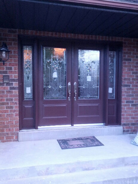 Stained Glass Fiberglass Doors with 2 Side Lites installed by Windows And Doors Toronto