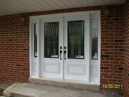 Stained Glass Smooth Doors installed in Bloomington by Windows And Doors Toronto