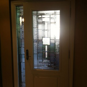 Stained Glass Woodgrain Fiberglass Single Door with Side Lite, Inside View installed by Windows And Doors Toronto