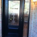Stained Glass Woodgrain Fiberglass Single Door with Side Lite installed by Windows And Doors Toronto