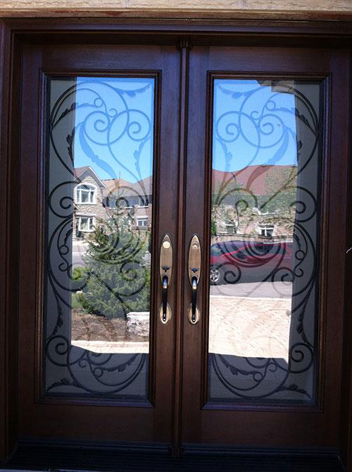 Wrought Iron Doors, Fiberglass Woodgrain Milan Design Double Doors Installed By Windows and Doors Torontoin Thornhill