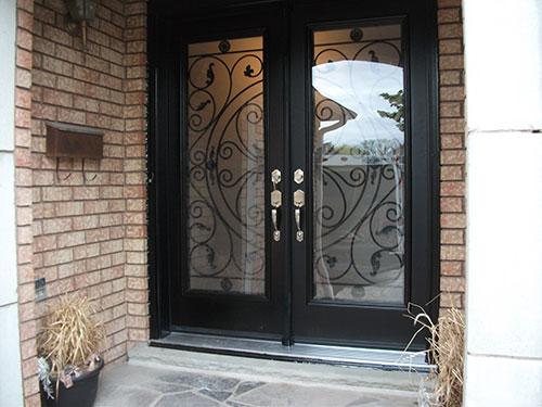 Wrought Iron Doors Fiberglass with Julietta Design and Multi Point Locks Installed by Windows and Doors Torontoin Etobicoke