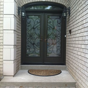 Wrought Iron Doors, Julieta Design with Arch Transom and Frosted Glass installed by Windows and Doors Torontoin Thornhill