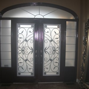 Wrought Iron Double Doors Julietta Design with 2 Side Lites and Transom, Inside View Installed by Windows and Doors Toronto