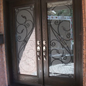 Wrought Iron Entrance Doors, Serafina design with Frosted Glass and Multi Point Locks Installed by Windows and Doors Toronto in Richmond Hill