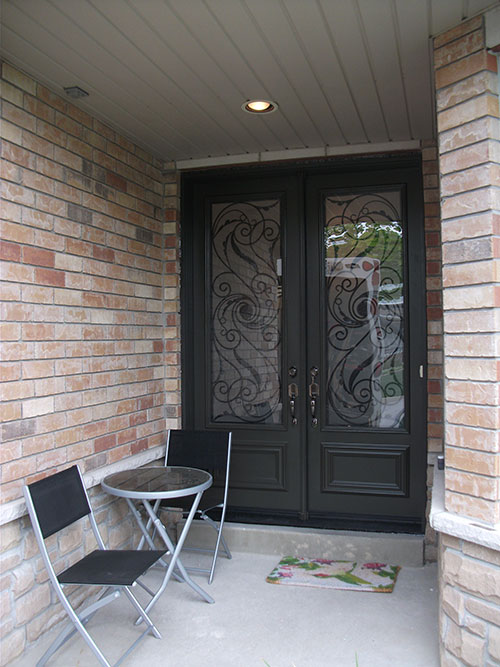 Wrought Iron Exterior Double Doors Serafina Design Installed in Toronto by Windows and Doors Toronto