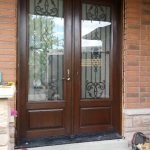 Wrought Iron Fiberglass Double Doors, Mahagony with Multi Point Locks Installed By Windows and Doors Toronto in Oshawa