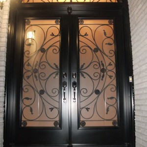 Wrought Iron Julietta Design Double Doors with Arch Transom Installed in Toronto by Windows and Doors Toronto