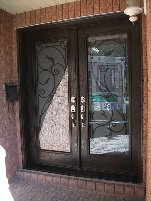 Wrought Iron Serafina design with Frosted Glass and Multi Point Locks Installed by Windows and Doors Toronto in North York