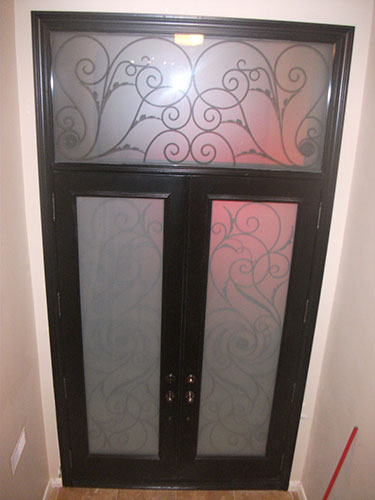 Wrought Iron Serefina Design Doors with Stained Glass and Transom, Inside View Installed by Windows and Doors Toronto